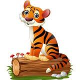 Cartoon tiger sitting on tree log. Illustration of Cartoon tiger sitting on tree log Stock Photos