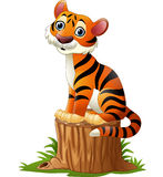 Cartoon tiger sitting on tree stump. Illustration of Cartoon tiger sitting on tree stump Stock Photo