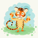 Cartoon Tiger Smile Show Two Finger Peace Gesture Stock Photos