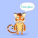 Cartoon Tiger Smile Show Two Finger Peace Gesture Stock Photography