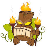 Cartoon tiki. Mighty cartoon tiki with torch Stock Image