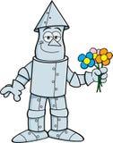 Cartoon Tin Man Holding Flowers Royalty Free Stock Photos