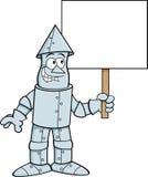 Cartoon tin man holding a sign. Stock Photography