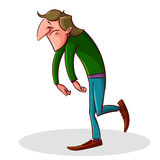 Cartoon tired and depressed man Royalty Free Stock Photography