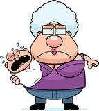 Cartoon Tired Grandma with Baby Royalty Free Stock Images