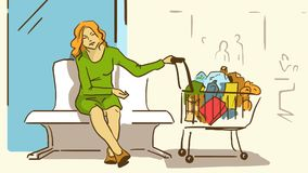 Cartoon Tired Lady With A Purchases In A Supermarket Trolley. Tired Lady With A Purchases In A Supermarket Trolley Sitting On A Bench In The Shopping Mall Royalty Free Stock Images