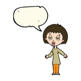 Cartoon tired woman with speech bubble Royalty Free Stock Photography