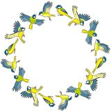 Cartoon titmouse spring birds colorful wreath ornament stock illustration