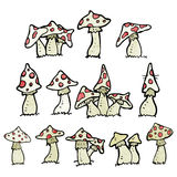 Cartoon toadstools collection Stock Photos