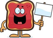 Cartoon Toast With Jam Sign Royalty Free Stock Photography
