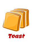 Cartoon toasted bread slices isolated on white Stock Photo
