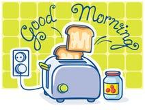 Cartoon toaster and jam Royalty Free Stock Photos