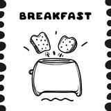 Cartoon toaster with toasts. Hand drawn illustration. Breakfast concept Royalty Free Stock Photos