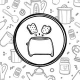 Cartoon toaster with toasts on kitchenware background. Hand drawn illustration. Breakfast icon. Cartoon toaster with toasts on kitchenware background. Hand drawn Royalty Free Stock Image