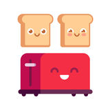 Cartoon toaster with toasts Stock Image
