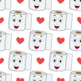 Cartoon Toilet Paper Seamless Pattern Royalty Free Stock Image