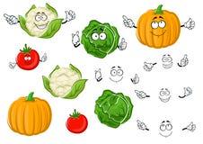 Cartoon tomato, cabbage, pumpkin and cauliflower Stock Photo