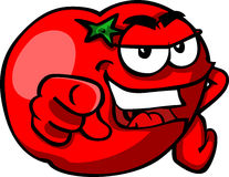 Cartoon Tomato pointing at viewer Royalty Free Stock Image