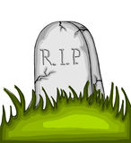Cartoon tombstone on the grass. On white background Stock Photography