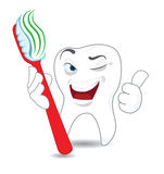 Cartoon Tooht with Toothbrush Stock Photo