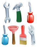 Cartoon tools icons set. Cartoon tool icons set of a variety of work tools including a spanner, hammer, plunger, screwdriver and paintbrush Stock Images