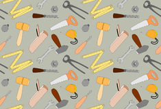 Cartoon tools seamless pattern, illustration Stock Images