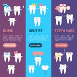 Cartoon Tooth Banner Vecrtical Set. Vector. Cartoon Cute Tooth Banner Vecrtical Set Funny Element Prevent and Protection Dental Health Flat Design Style. Vector stock illustration