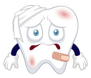 Cartoon tooth be injured Stock Images