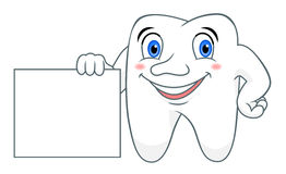 Cartoon tooth with blank Royalty Free Stock Photos