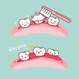Cartoon tooth brush and gingivitis Stock Images