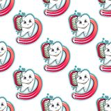 Cartoon tooth and brush seamless pattern Stock Photography