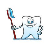 Cartoon tooth with brush and toothpaste Stock Photos