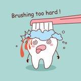 Cartoon tooth brushing too hard Stock Photo