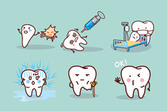 Cartoon tooth cavity Royalty Free Stock Images