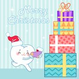 Cartoon tooth and Christmas royalty free illustration