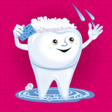 Cartoon tooth cleaning Royalty Free Stock Images