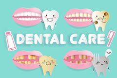 Cartoon tooth decay problem Royalty Free Stock Photography
