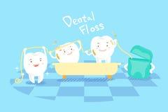 Cartoon tooth with dental floss vector illustration