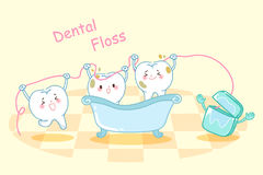 Cartoon tooth with dental floss. Cute cartoon tooth take bath with dental floss Stock Images