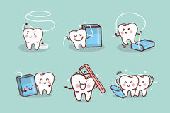 Cartoon tooth with dental floss Stock Images