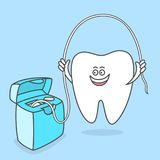 Cartoon tooth with dental floss. Dental care concept. stock illustration