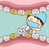 Cartoon tooth dental implantation concept Stock Images