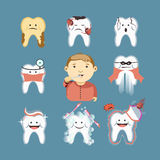 Cartoon tooth disease and vector child brushing teeth Stock Photography