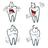 Cartoon tooth emotions. Cartoon tooth character with four diferent emotion Royalty Free Stock Image