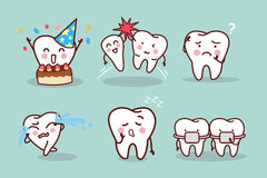 Cartoon tooth with expression. Great for health dental care concept Stock Photos