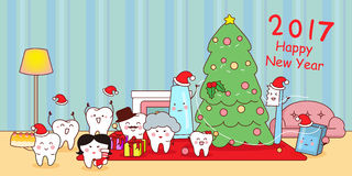Cartoon tooth family celebrate Christmas Royalty Free Stock Photography