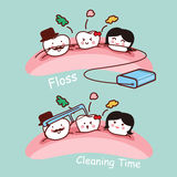 Cartoon tooth family with floss Stock Photos
