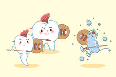 Cartoon tooth fight to bacteria. Two cute cartoon tooth fight to the bacterium Royalty Free Stock Images