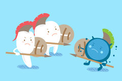 Cartoon tooth fight to bacterium. Two cute cartoon tooth fight to the bacterium Stock Photos