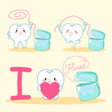 Cartoon tooth with floss Royalty Free Stock Images